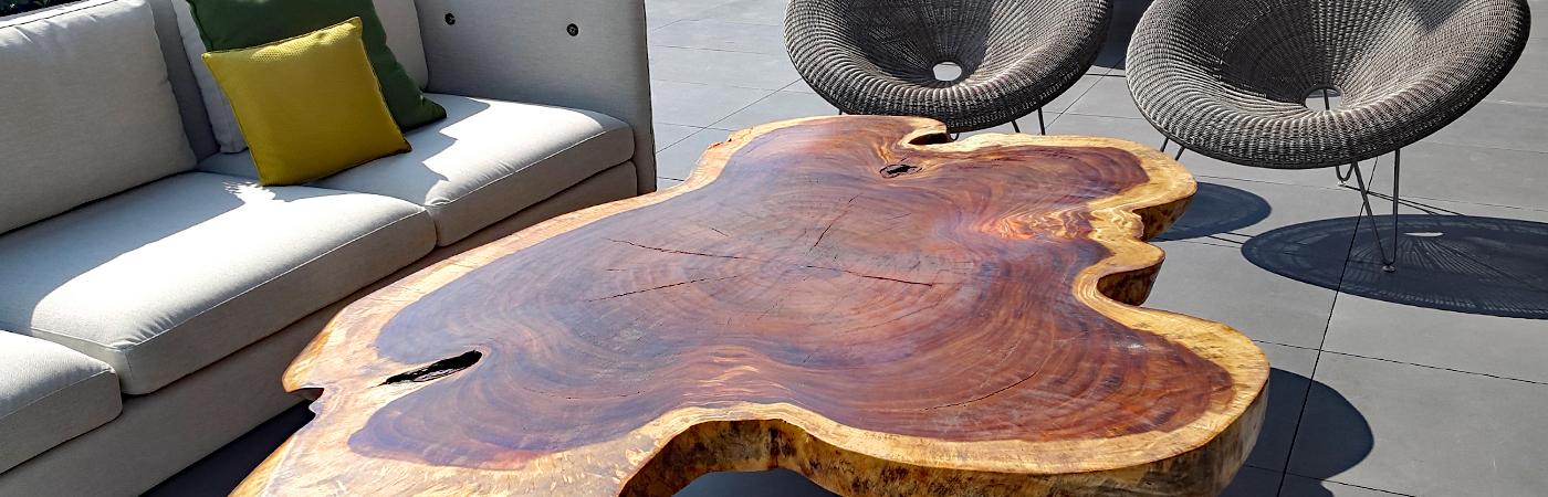 Mesas centro y lateral de madera parota finos - Mesa centro madera y cristal ...
