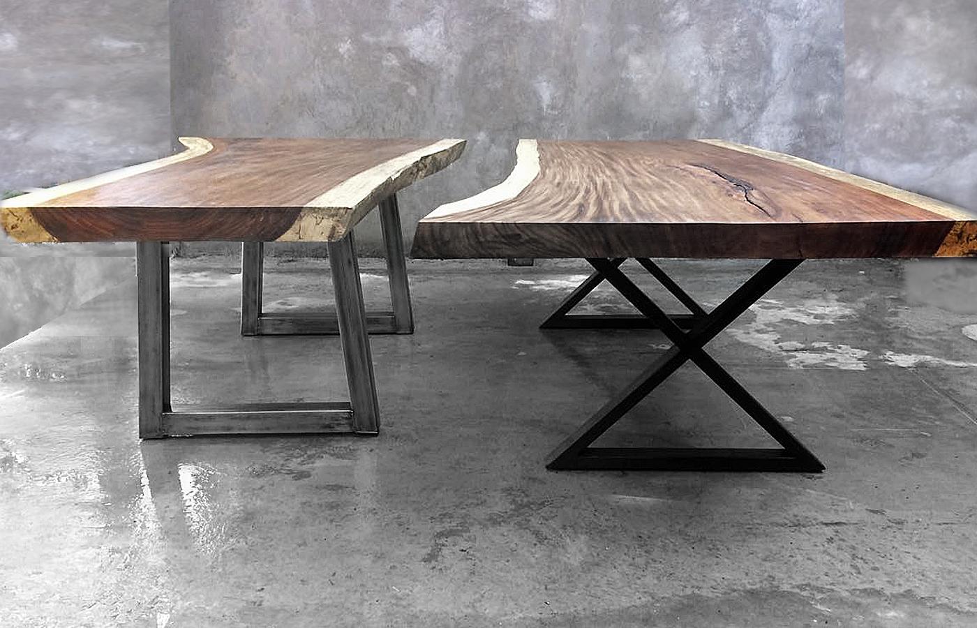 Mesas de parota finos modernos artesanales y alta for Mesas de centro metalicas