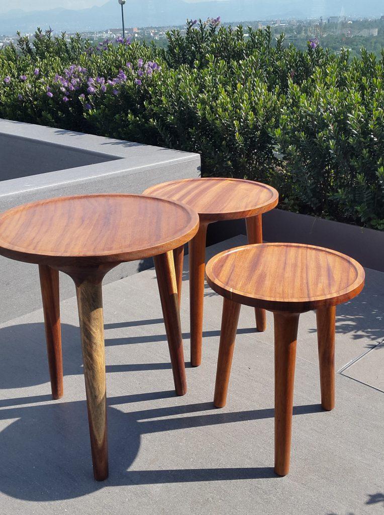 Mesas centro y lateral de madera parota finos for Mesas de diseno para salon