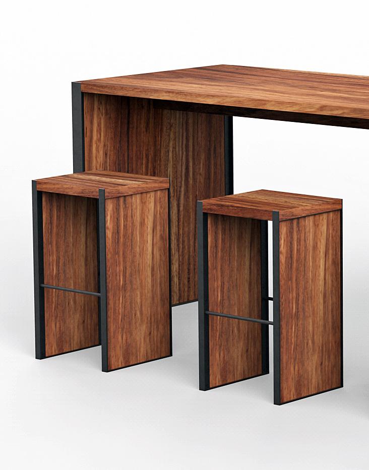 mesas y periqueras para bar madera parota artesanales cdmx