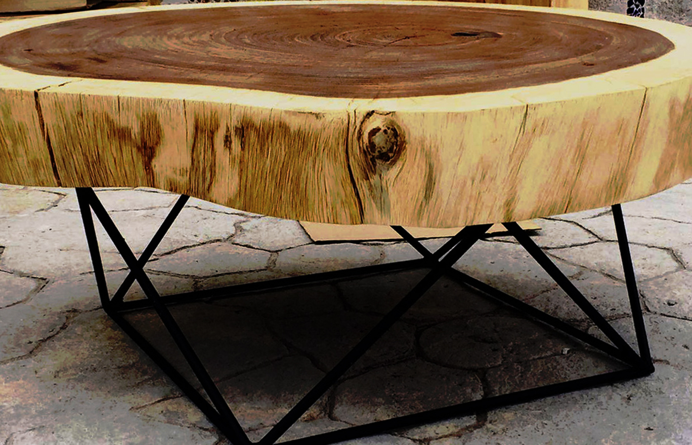 Parota wood coffee tables custom made in mexico round wood coffee tables geotapseo Gallery