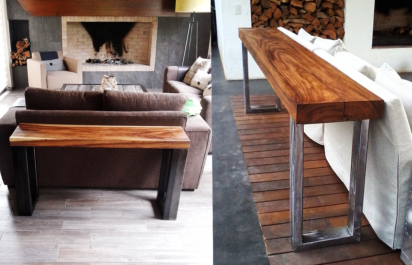 Parota wood console side tables custom modern design mexico wood console tables geotapseo Gallery