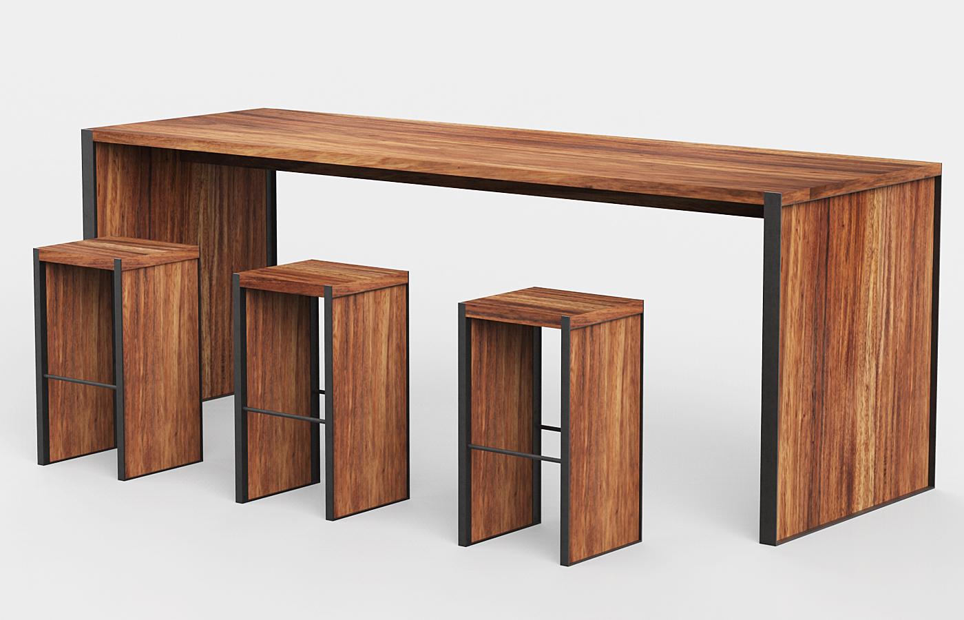 Mesas y periqueras para bar madera parota artesanales cdmx for Barras en madera para bar