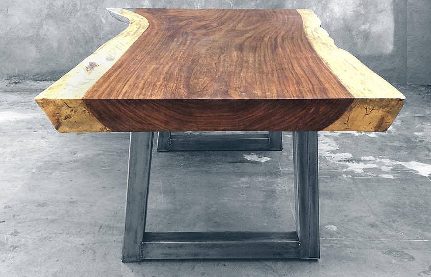 Parota wood tables custom modern design made in mexico for Mesas de centro metalicas
