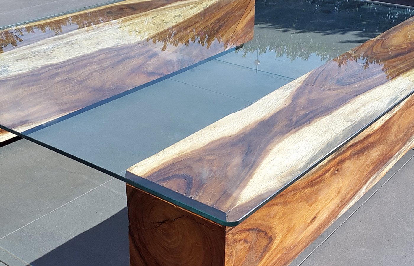 Glass Wood Coffee Table