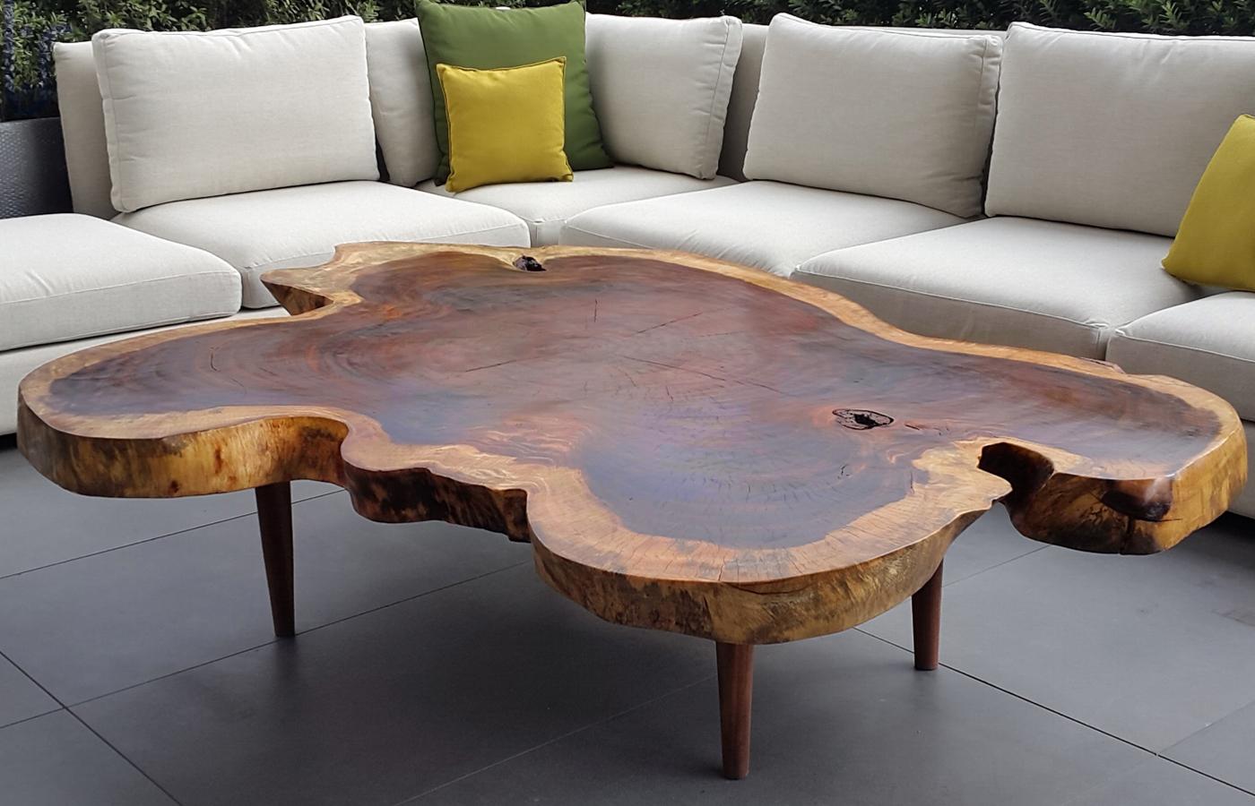 Mesas centro y lateral de madera parota finos for Mesa bar de madera