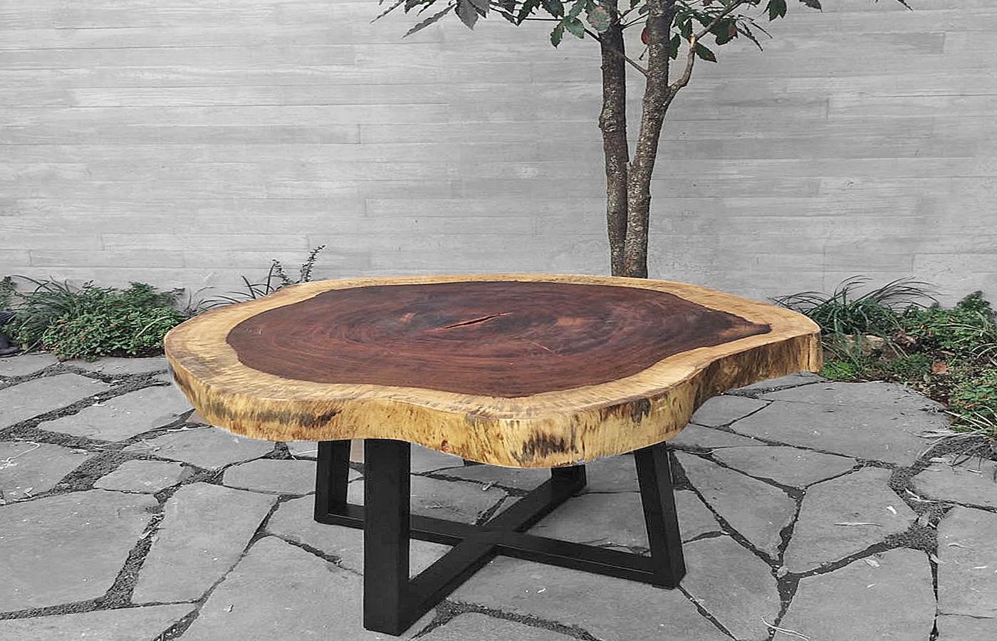 Mesas centro y lateral de madera parota finos for Mesas de madera para sala