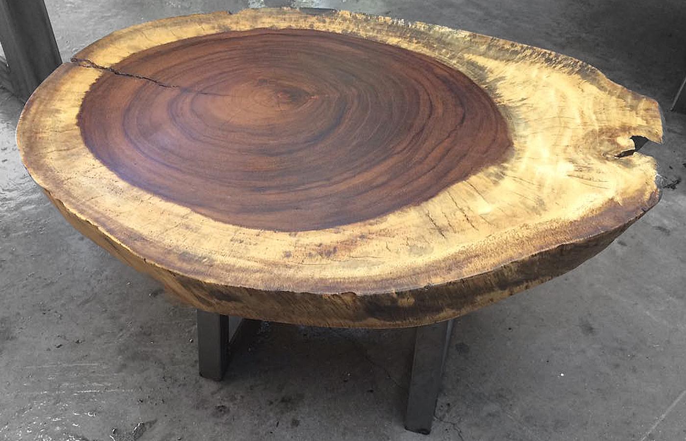 Mesas centro y lateral de madera parota finos for Mesas redondas de diseno