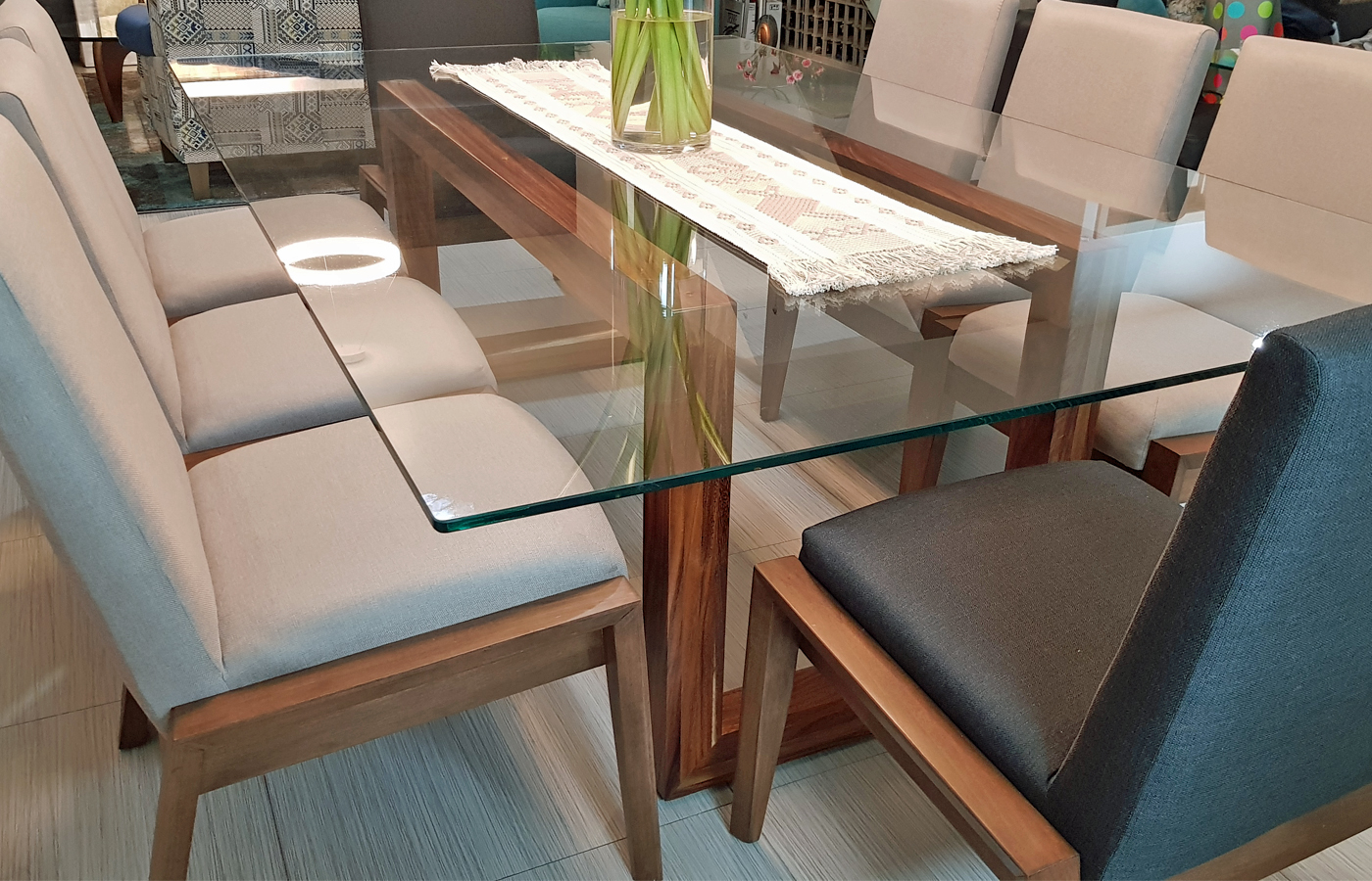 Custom Glass and Wood Table Mexico