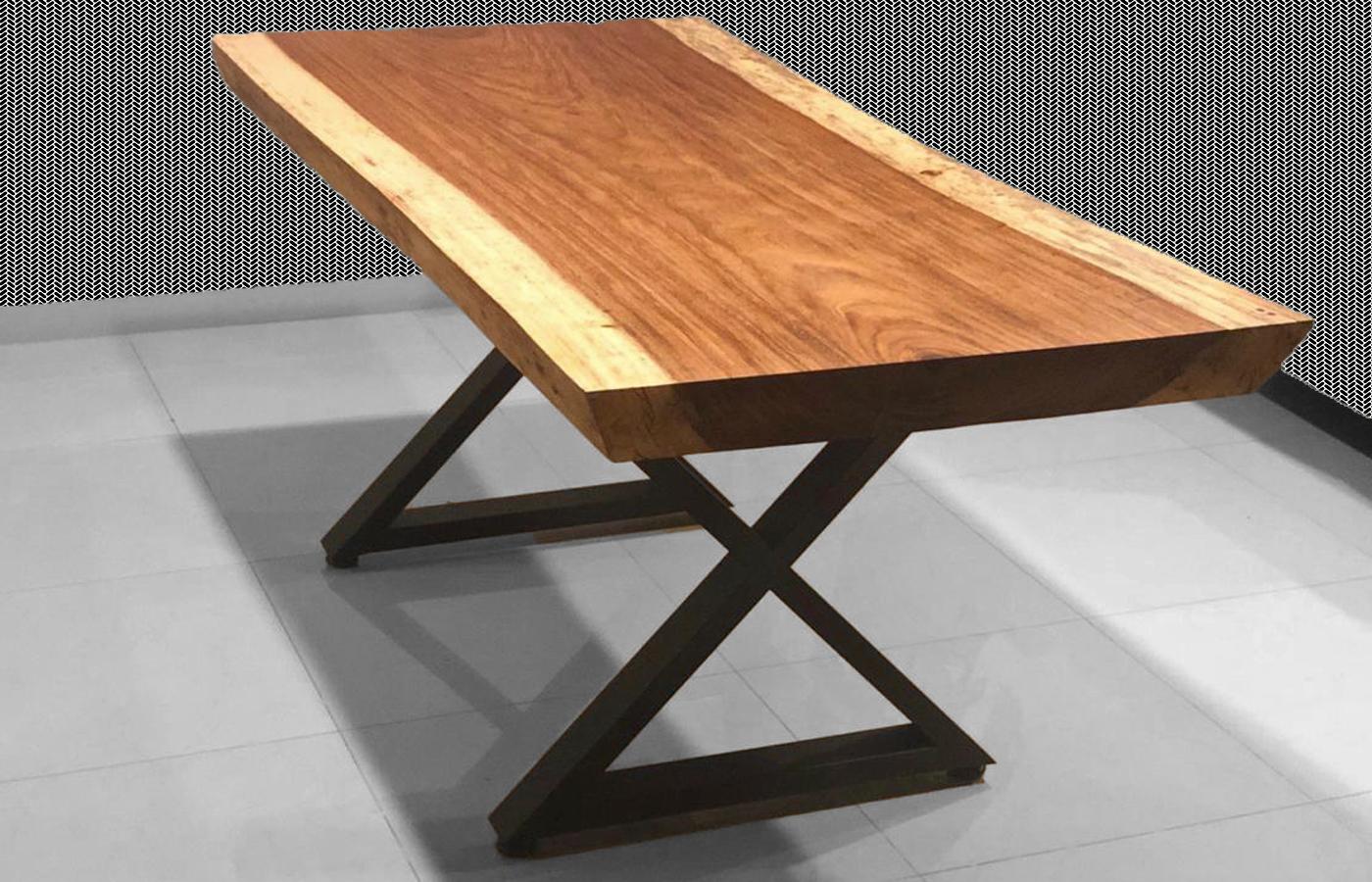natural wood metal table