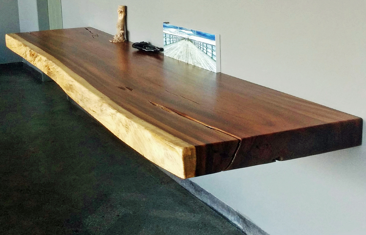 wood floating console